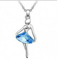 Wholesale Beautiful Necklaces For Sale - Austrian Crystal Pendants Fashion Ballet Dancing Girl Beautiful Angel Necklace Fashion Jewelry Diamond for Women Dress Xmas Best Gift Sale