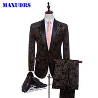 Wholesale Velvet Tuxedo Blazer - 2017 Velvet Man Suits Custom Made Groom Tuxedos Fashion Groomsman Suit Slim Homecoming Suit Wedding Suit Blazer (Jacket+pants)
