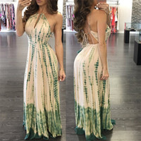 Hot Summer Fashion Women Tie-dye Maxi Dress Sexy Key Holes Dettagli Halter Neck Backless Long Dress Ladies Club Wear Dress Online