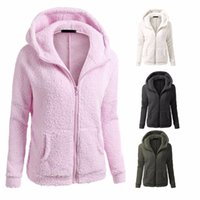 Wholesale black winter parka women online - Womens Winter Autumn Thicken Fleece Warm Coat Long Sleeve Solid Black Gray Hooded Parka Overcoat Jacket Outwear S XL