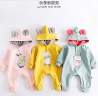 Wholesale Cartoon Hats Long Ears - INS 2017 new fall 100% cotton baby kids climbing romper long sleeve Rabbit ears hat cut cartoon pattern print romper baby girl boy romper