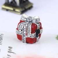Wholesale Box Fit European Beads - Wholesale Real 925 Sterling Silver Not Plated Red Gift Box Cubic Zirconia European Charms Beads Fit Pandora Snake Chain Bracelet DIY Jewelry