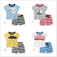 Wholesale Sail T Shirt - Summer Boy INS sailing stripe suit new children plane ins Short sleeve T-shirt +shorts 2 pcs Suit baby clothes