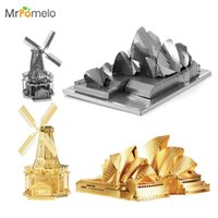 Wholesale Toy Wholesalers Sydney - Wholesale- 3D Puzzle Windmill Sydney Opera House All metal DIY Assembly Model Puzzle DIY Creative Gift Jigsaws Education Toys for Children
