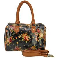 Wholesale Oilcloth Flower - Wholesale- Women Handbags Oilcloth Bags Wild Flowers Print Design Tote Bag Women's Shoulder Bags Women Travel Bag AQQ1837