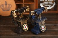 Wholesale Retro Vintage Rotary Telephone Statue Antique Shabby Chic Old Phone Figurine Home Desk Decoration Gift Piggy Bank Resin Crafts