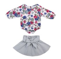 Wholesale Romper Long Sleeve Pc - 2017 New Arrival Spring Autumn Fashion Baby Girls Floral Printing Long Sleeve Romper + Bow Tutu Skirts 2 pcs Sets Children Clothing