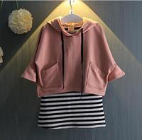 Wholesale Long Vest For Girls - Girls Clothes Spring Autumn Kids 2 PCS Sport Suit (Hoodies Tops+Vest Dress) Tracksuit For Girls Toddler Girl Clothing #TZ001
