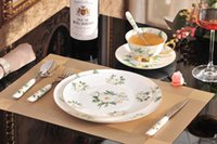 Wholesale Bone China Dinner Plate Sets - 8-Pcs Bone China Dinnerware Set With Dinner Plates,Salad Plates,Knife,Fork,Tea Cup,Saucer,Coffee Spoon,Dinner Spoon