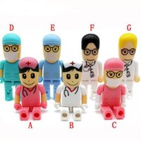 Wholesale Usb Flash Drive Disk 16g - Hot Doctors memory stick nurses pendrive cartoon usb flash drive pen drive 8gb pendrives 4G 16G flash card u disk cute gift