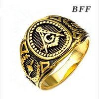 Wholesale Nice Punk - Men's new fashion vintage high quality heavy stainless steel gold masonic ring punk style jewelry nice gift for men