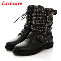 Wholesale Black Low Ankle Punk Boots - Wholesale-Rivet Ankle Boots 2015 Latest Woman Gothic Shoes Fashion Low-heeled Punk Shoes Handsome Black Rivet Ankle Boots 35cm-43cm