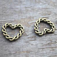 Wholesale antique brass charms - 10pcs Heart charms,Antique Bronze Vintage Brass Love Hearts Woven Circle Connectors Charms Pendants 19x21mm