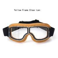 ingrosso caschi gialli motociclistici a faccia aperta-2017 Cheap Yellow Frame Halley Occhiali Moto Occhiali Mezza Faccia Caschi Occhiali Retro Jet Open Face Casco Eyewear 4 lenti a colori