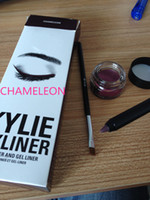 Wholesale Pot Cosmetic Cream - Dropshipping 2016 hot Kylie Cosmetics By Kylie Jenner bronze chameleon Kyliner In Black Brown with Eyeliner Gel pot Brush Eyebrow Enhancers