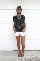 Wholesale Female Military - T-shirt female blusa tumblr camouflage prints tops & t short sleeves women t shirt military uniform casual top tees