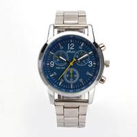 Wholesale Tungsten Watch Chain - New men's false three-eye six-pin waterproof steel strip steel chain male watch multifunctional business watch fashion
