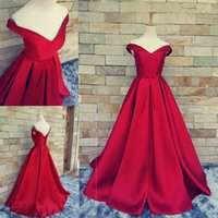 Wholesale vintage evening dresses for sale - 2017 A line Red Evening Dresses for Arabic Formal Women V neck Celebrity Occasion Sale Cheap Fashionable Satin Long Prom Party Gown XG