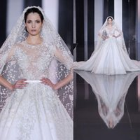 Wholesale Designer Cathedral Wedding Gowns - Luxury Designer Tulle Wedding Dresses 2017 New Arrival Fashion Appliques Sheer Illusion Half Sleeve Cathedral Train Bridal Gown
