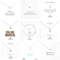 Wholesale Necklace Pendant Cards Wholesale - 9 Styles Silver Dogeared Necklace Elephant Love Wings Cross Unicorn Pendant For Women Fashion Jewelry With Silver Card Wholesale