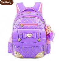 Coolbaby Girl School Bags Pu bolso de cuero 2047 niños coreanos School Backpacks 1 -3 -6 Grado Girl Backpack envío gratis Z354