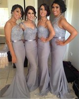 Wholesale Actual Image Bridesmaid - 2017 New Fashion Cheap Gray Mermaid Bridesmaid Dresses Promotion Spaghetti Straps Actual Pictures Floor Length Maid of Honor Dresses
