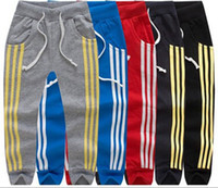 Wholesale kids boys sweatpants - New Children three stripes Sports pants cotton baby boys girls Leisure Trousers High qulity kids Sweatpants