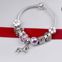 Wholesale European Lovely Beads Charm Bracelet - Wholesale 925 Sterling Silver Plated Charm Bracelet European Beads Pink Lovely Horse fit Chamilia Jewelry Snake Chain New Arrival