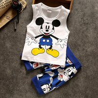 Wholesale Wholesale Toddlers Ruffled Pants - Baby Kids Boys children Clothing Sets Summer Newborn casual mickey Pattern t-shirt pants tracksuit boy ruffle outfits toddler pant sets #111