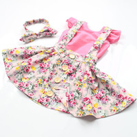 Wholesale Girls Flower Tshirts - Girls Floral dress Baby flower dresses children headbands+suspender dress+tshirts sets kids boutique clothing summer holiday Beach dress