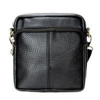 Wholesale Men S Leather Messenger - Wholesale- 2016 Fashion vintage genuine Leather small men bag high quality brand men messenger bags casual mini shoulder bag S-225