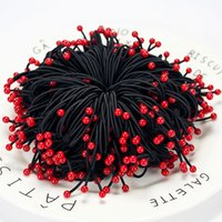 Wholesale Small Rubber Bands For Hair - 100 Pcs   Lot 2017 Fashion Red cherry Woman Hair Jewelry Small fresh Rubber Band Head rope For Girl Wholesale