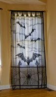 Wholesale Roses Web - Halloween LACE DECOR jacquard knitted rose lace curtains with rod pocket curtain panel drapes spider web or bat curtain 40x84 inch