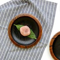 ingrosso piatti giapponesi-Japanese Creations Vassoio di frutta in legno Dessert Servies Dish Prato Legno tondo Cibo Dolci Caffè Dinner Plates Snack Tray Tableware