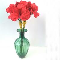 красные садовые цветы оптовых-27 '' Амариллис Флауэр спрей искусственный в ярко-красном цвете лучше всего подходит для свадебных цветов или новогоднего шелка в праздничных букетах для мероприятий в саду