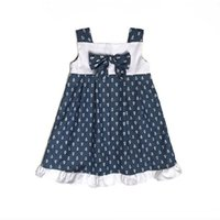 Wholesale Infant Sailor Dresses - 2017 Baby Girls Dresses Sleeveless Newborn One-Piece Dress Navy Sailor baby girl baptism dresses Infant Clothing Blouses Cotton