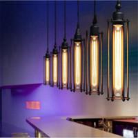 ferforje yemek lambası toptan satış-Edison Vintage Kolye Lamba Loft Ferforje Avizeler Yemek odası Retro Flüt Asılı Lamba Avrupa İç Aydınlatma Armatürü 110 V-240