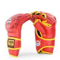 Wholesale Grappling Gloves - New Grappling MMA Semi Finger Boxing Punching PU Gloves Free Combat Dragon Veins UFC Gloves Sandbag Boxing Half Finger Gloves Red Blue Black