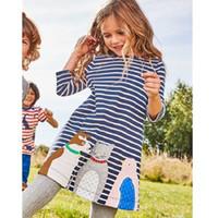 Wholesale Girls Bohemian Clothing - Kids Dress 2017 Jersey Dress Girls Clothes Applique Children Clothing Tunic Toddler Kids Clothes Girls Casual Dress Girls