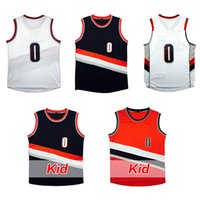 Wholesale Kid Clothing Logo - 0 damian lillard jersey adult youth kids 100% stitched Lillard rip city throwback Basketball jerseys clothes high quality embroidery Logos