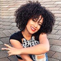 malezya saç perukları işlenmemiş toptan satış-Malezya Kinky Kıvırcık Tam Dantel Peruk Siyah Kadınlar Için 8-30 inç İşlenmemiş İnsan Saç Peruk G-EASY Saç