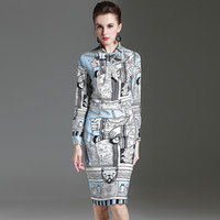 Wholesale Elegant Print Runway Dress - New Arrival 2017 Women's Bow Detailing Long Sleeves Vintage Printed Shirts with Pencil Skirt Elegant Runway Twinsets