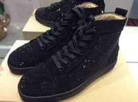 Wholesale Brand Comfort Shoes - MBSn999A Size 36-46 Men Women Black Suede With Rhinestone High Top Lace Up Fashion Sneakers, Unisex Brand Comfort Spring Autumn Casual Shoes