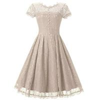 Wholesale Blue Swing Prom Dress - Women's Floral Lace Prom Dresses Short 2017 Cap Sleeve Retro Vintage Swing Dress Cocktail Dresses