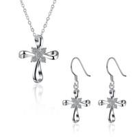 941d01ea5810 Cruz colgante collar y pendientes zircon conjunto 925 chapado en plata  encanto conjunto de joyas mujeres barato caliente