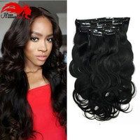 Hannah Clip In Human Hair Extensions Body Wave 140G Remy Hair Natural Color 10 Pieces / Set 12-26 Inch
