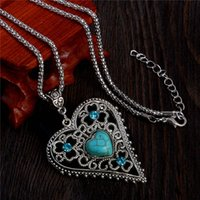 Wholesale Long Chain Heart Necklaces - Wholesale-Natural Turquoise Stone Crystal Heart Pendant Necklace Long Necklace Vintage Free Shipping
