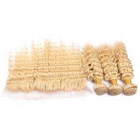 rus yığını insan saçı toptan satış-Üst Satış 9A # 613 Sarışın Rus Derin Dalga Virgin İnsan Saç 3 Demetleri Ile Ücretsiz Orta 3 Bölüm 13x4 '' Dantel Frontal Kapatma Parçası