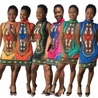 Wholesale Kaftan Dresses Wholesale - Dresses Dashiki Bodycon Dress Women Totem Bohemian Tribe Kaftan Fashion African Tops Slim Casual National Dress Print Sleeveless Dress D542