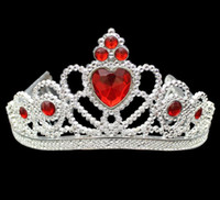 Wholesale Princess Pageant Crowns - COS Princess Kids Crown Plastic Tiara Birthday Party Favor Girls Silver Resin Heart Crystal headbands Pageant Prom HAIR JEWELRY XMAS gift